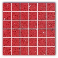 Gulfstone Quartz Rosso red sparkly mirror tile in 4.7x4.7cm