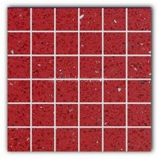 Gulfstone Quartz Ruby red sparkly mirror tile in 4.7x4.7cm